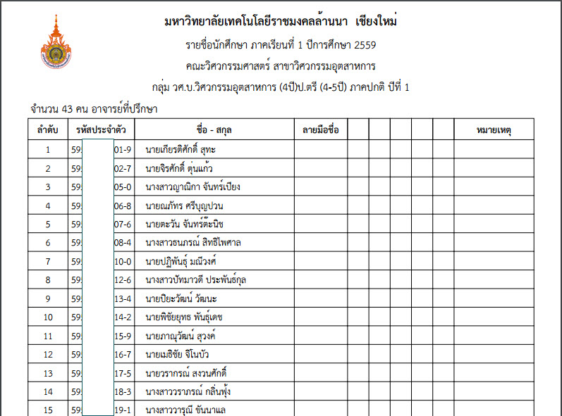 ประกาศรหัสนักศึกษาใหม่ ประจำปีการศึกษา 2559