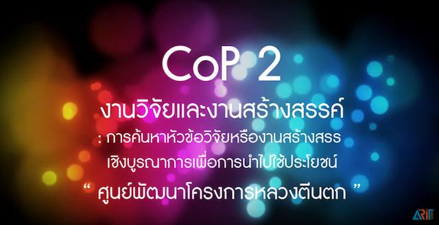 CoP 2 งานวิจัยและงานสร้างสรรค์ : งานวิจัยเพื่อการตีพิมพ์เผยแพร่/นำไปใช้ประโยชน์
