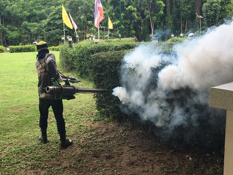CISAT received swing fog to eliminate mosquitoes within college from Pa Pong Sub district Municipality
