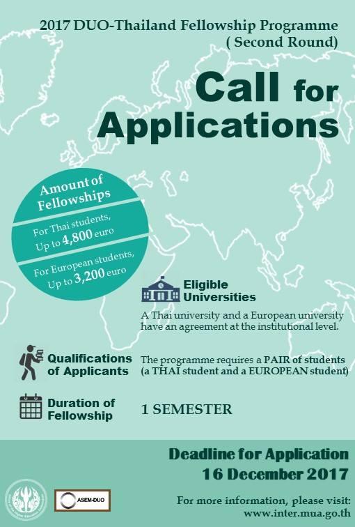 ทุนการศึกษาภายใต้ DUO-Thailand Fellowship Programme