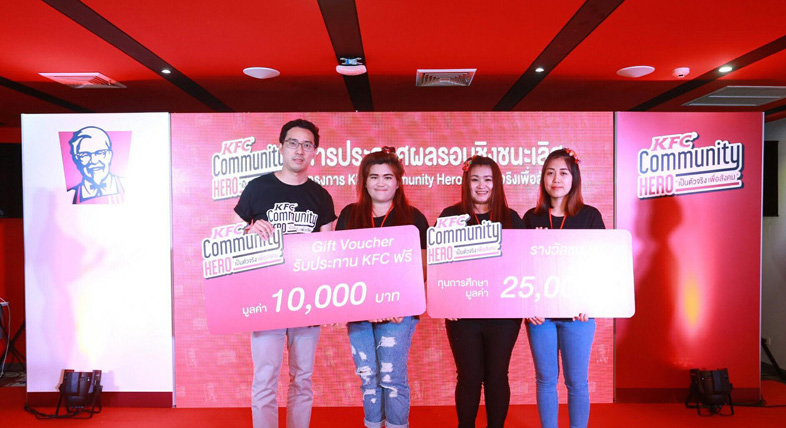นักศึกษาหลักสูตรการตลาด มทร.ล้านนา ลำปาง รับรางวัลชมเชยการประกวด โครงการ KFC community Hero