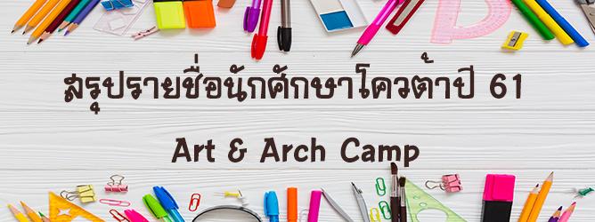 ยืนยันสิทธิ์นักศึกษาโควต้า ปีการศึกษา 2561 Art&Arch Camp
