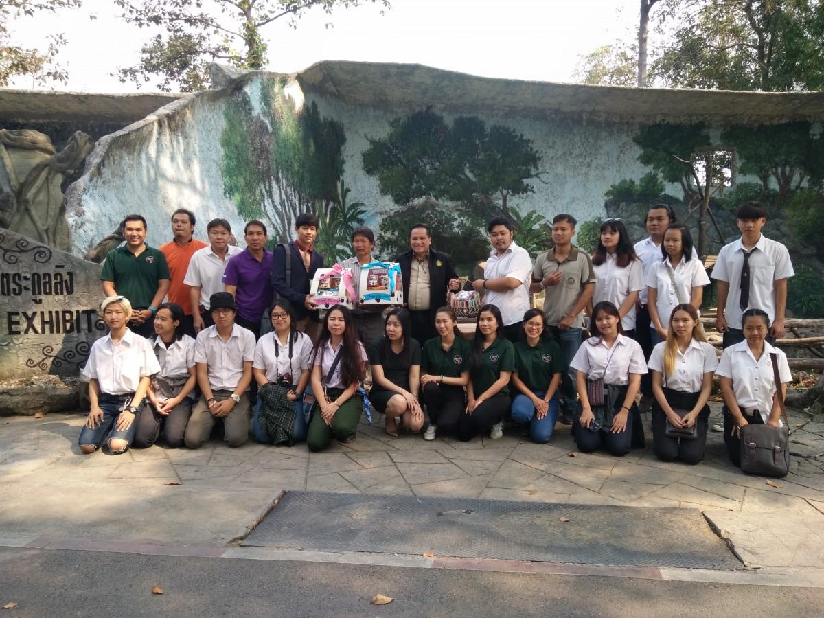 นักศึกษา จิตรกรรม หลักสูตรทัศนศิลป์ วาดภาพจิตรกรรมฝาผนังในพื้นที่อาศัยของลิง ณ สวนสัตว์เชียงใหม่