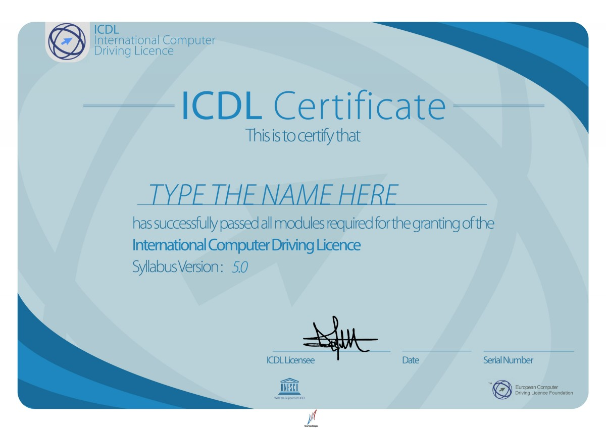 ใบประกาศผลการทดสอบมาตรฐานด้านเทคโนโลยีสารสนเทศ ICDL Certificate