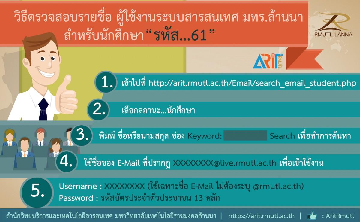 ข่าวประชาสัมพันธ์ : วิธีตรวจสอบรายชื่อผู้ใช้งานระบบสารสนเทศ มทร.ล้านนา สำหรับ นักศึกษา รหัส...61