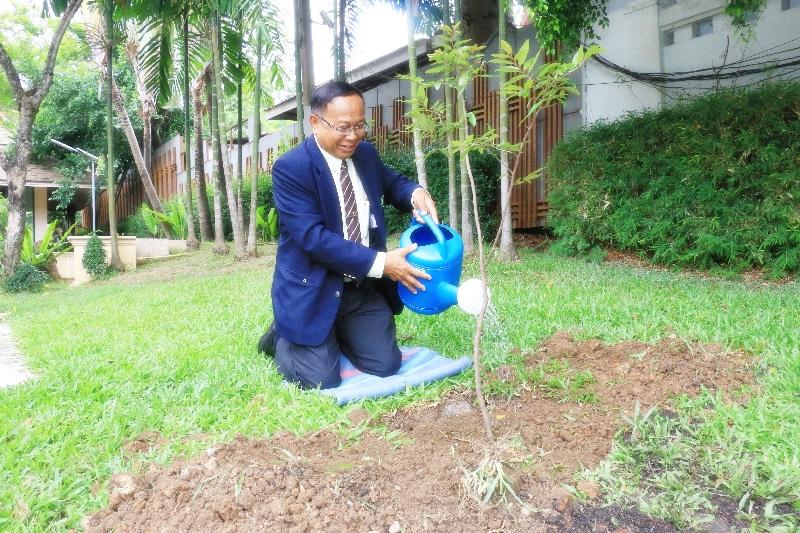 ประธานคณะบุคคลฯ ปลูกต้นรวงผึ้งเพื่อเพิ่มพื้นที่สีเขียวและแสดงออกถึงความจงรักภักดี