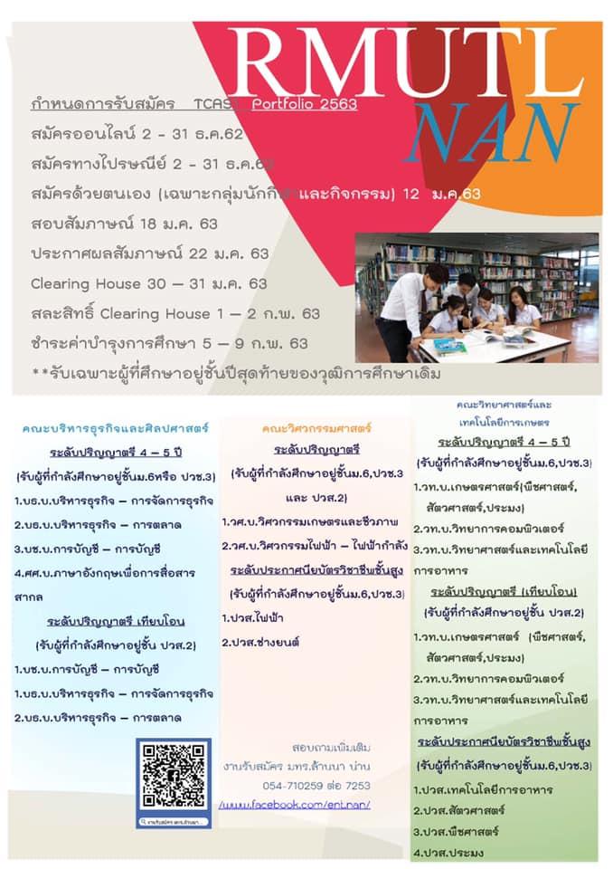 มทร.ล้านนา น่าน รับสมัครนักศึกษาใหม่ รอบที่ 1 TCAS 1 Portfolio 2563