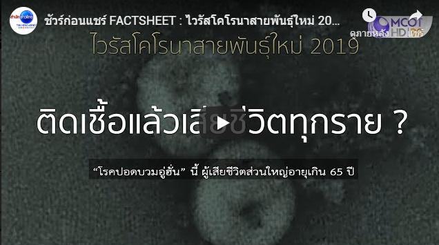 ชัวร์ก่อนแชร์ FACTSHEET: ไวรัสโคโรนาสายพันธุ์ใหม่ 2019