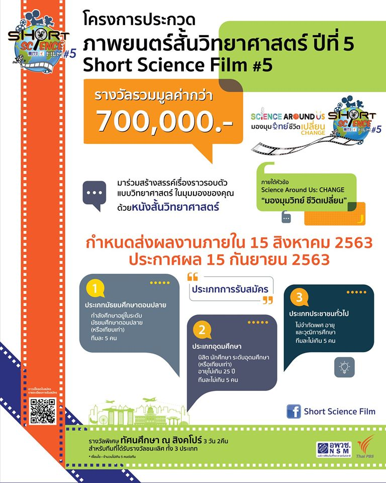 องค์การพิพิธภัณฑ์วิทยาศาสตร์ฯ ขอเชิญนักศึกษาเข้าร่วมการประกวดโครงการภาพยนตร์สั้น ปีที่ 5