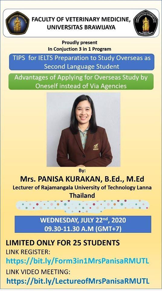 อาจารย์ มทร. ล้านนา เป็นวิทยากรให้แก่  Faculty of Veterinary Medicine, Brawijaya University ประเทศอินโดนีเซีย