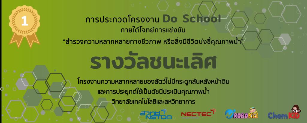 """อาจารย์และนักศึกษาวิทยาลัยฯ คว้ารางวัลชนะเลิศการแข่งขันประกวดโครงงาน """"Do School""""  จัดโดย NECTEC และ สวทช."""