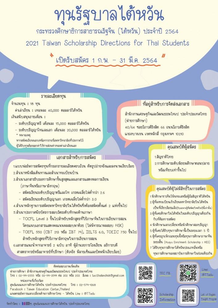 ประชาสัมพันธ์ทุนรัฐบาลไต้หวัน ประจำปี 2564 (2021 Taiwan Scholarship Program Directions for Thai Students)