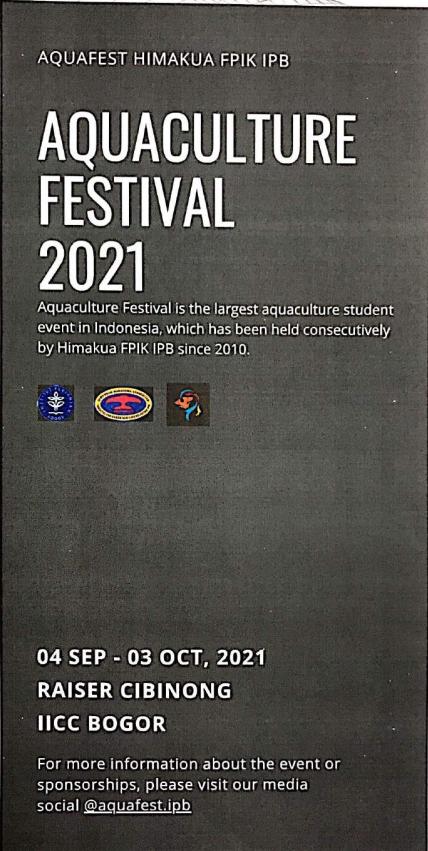 ประชาสัมพันธ์การจัดงาน Aquaculture Festival 2021