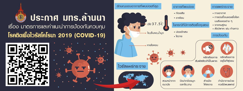 ประกาศ มทร.ล้านนา เรื่องมาตรการและคำแนะนำการป้องกันควบคุมโรคติดเชื่อไวรัสโคโรนา 2019
