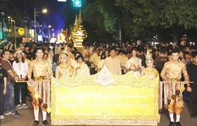 "Image : RMUTL Krathong Procession ""Mangkhala Racha Tai Rom Photha Mahajakriwong got the 1st Runner-up Award"