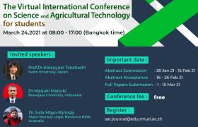 รูปภาพ : ขอเชิญนักศึกษาระดับปริญญาตรี ปริญญาโทร่วมนำเสนอผลงานวิจัยและปัญหาพิเศษในงานประชุมวิชาการ:The Virtual International Conference on Science and Agricultural Technology 2021